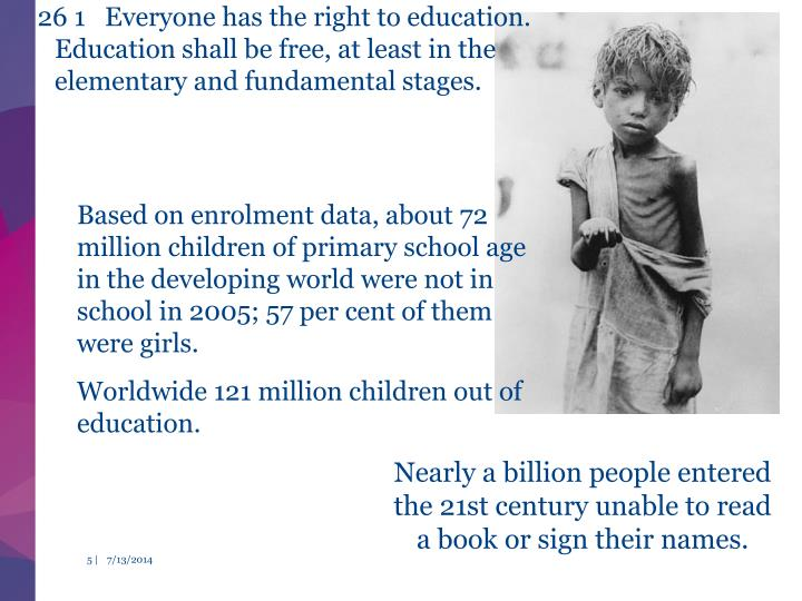 26 1 Everyone has the right to education. Education shall be free, at least in the elementary and fundamental stages.