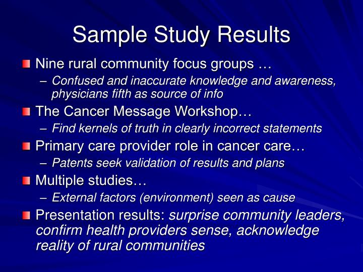 Sample Study Results