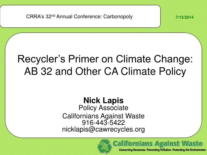 recycler s primer on climate change ab 32 and other ca climate policy n.