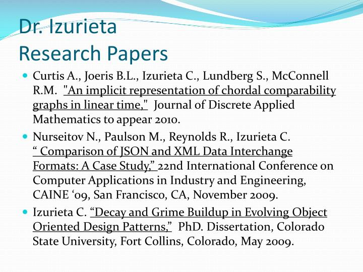 dr izurieta research papers n.