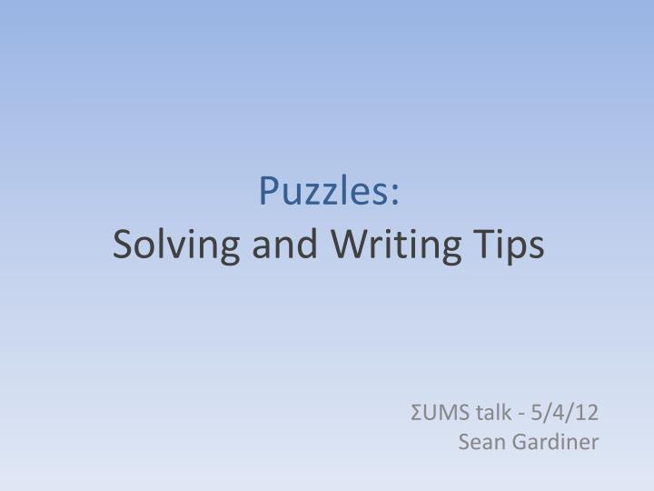 puzzles solving and writing tips n.