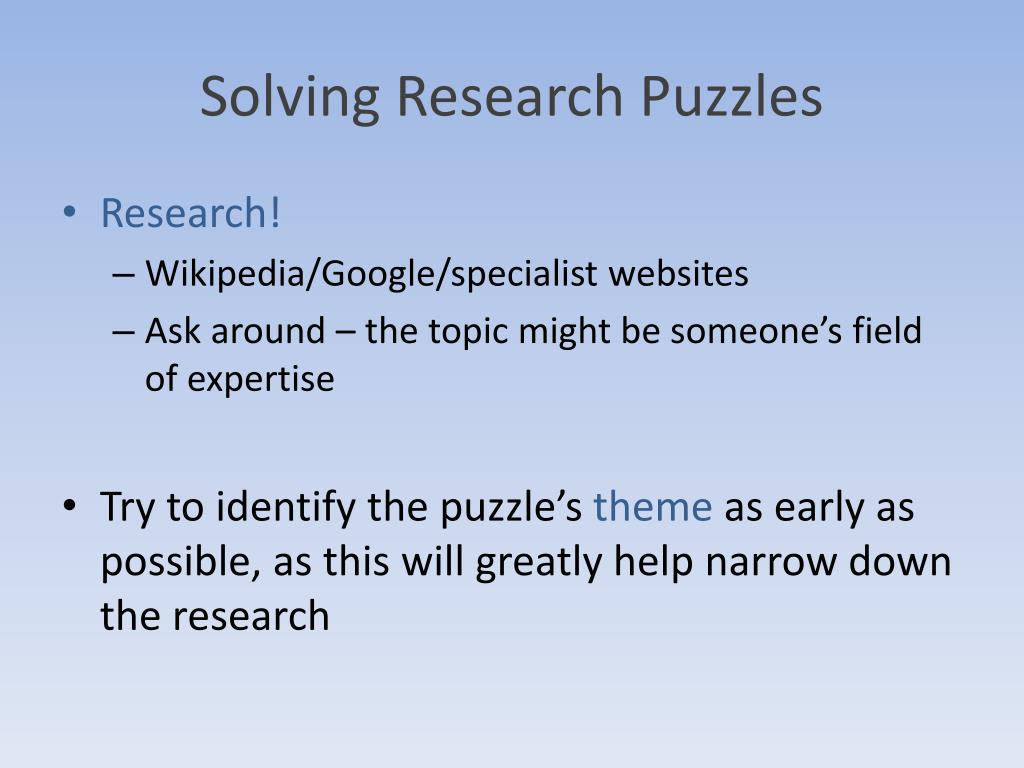PPT - Puzzles: Solving and Writing Tips PowerPoint