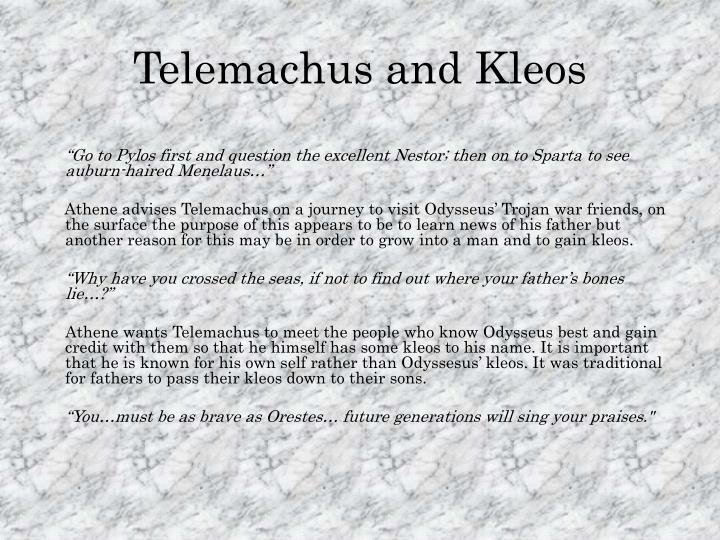 telemachus essay Telemachus in the odyssey the 1st four books of the odyssey are occasionally known as 'telemachy' it is certainly a self-contained section that could in truth end up being taken out very easily, allowing the story to start with odysseus without damaging the plot.
