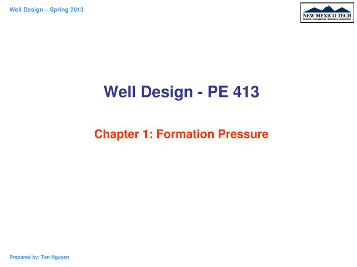 well design pe 413 chapter 1 formation pressure n.