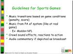 guidelines for sports games