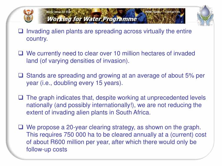Invading alien plants are spreading across virtually the entire country.