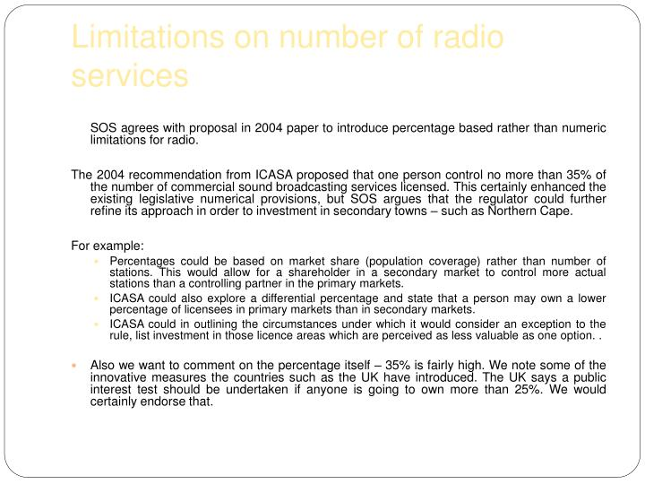 Limitations on number of radio services