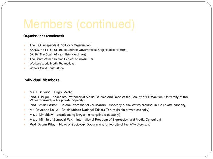 Members (continued)