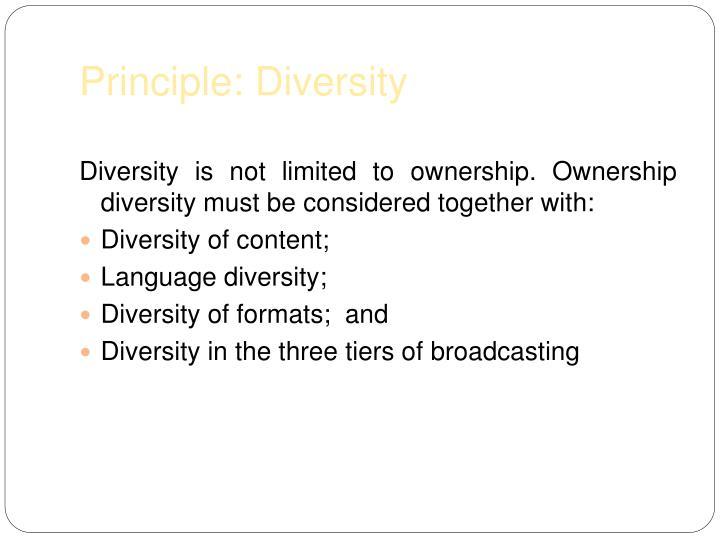 Principle: Diversity