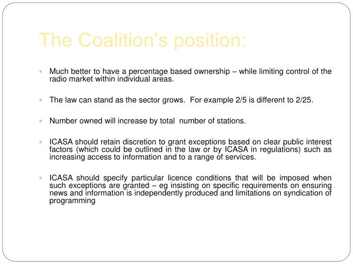 The Coalition's position: