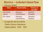 murmur turbulent blood flow