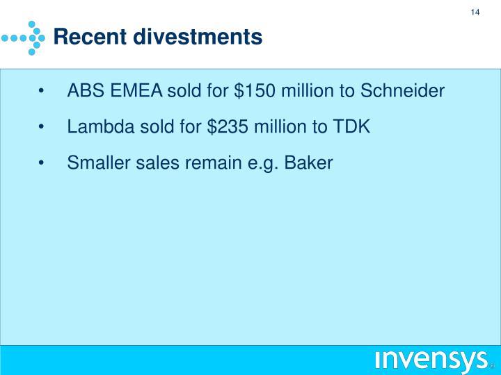Recent divestments