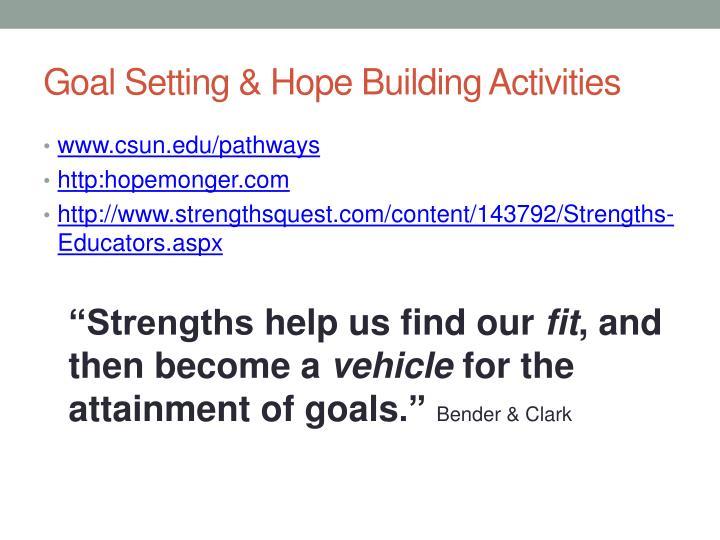Goal Setting & Hope Building Activities