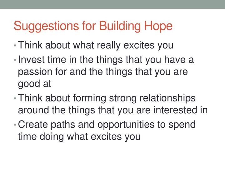 Suggestions for Building Hope