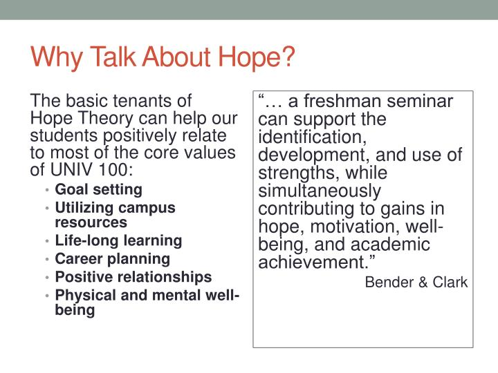 Why Talk About Hope?