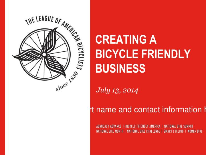creating a bicycle friendly business n.