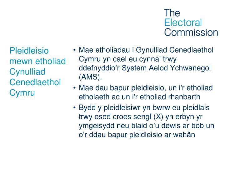 Pleidleisio mewn etholiad  Cynulliad Cenedlaethol Cymru