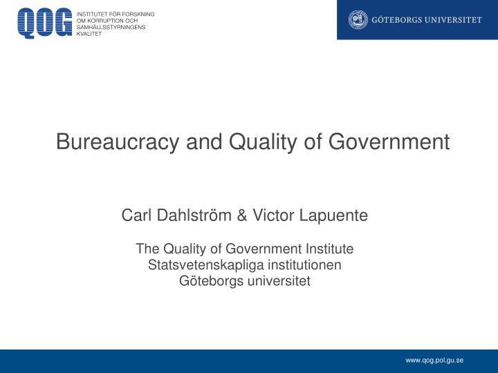 bureaucracy and quality of government n.
