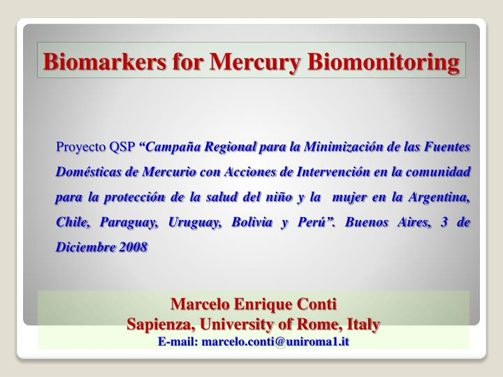 biomarkers for mercury biomonitoring n.