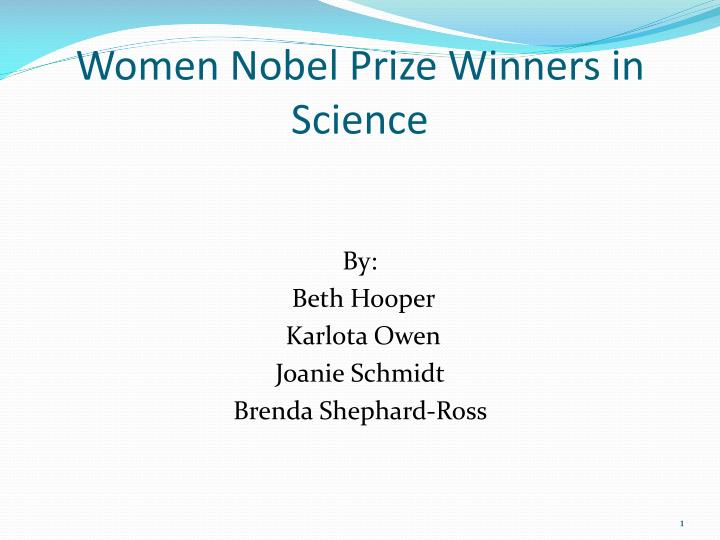 women nobel prize winners in science n.