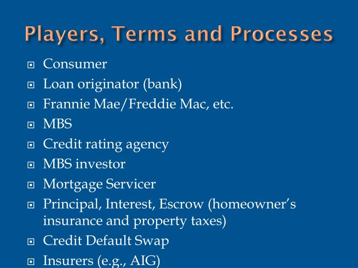 Players, Terms and Processes