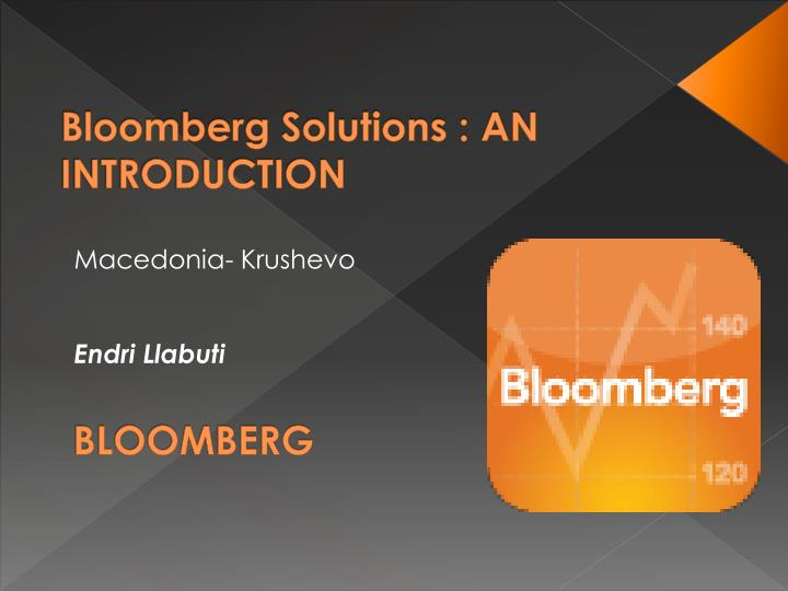 bloomberg solutions an introduction n.