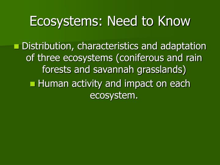ecosystems need to know n.