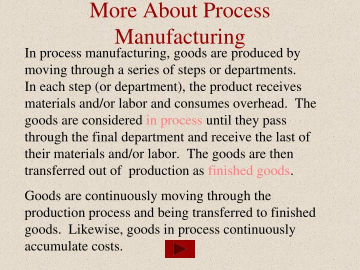 More about process manufacturing
