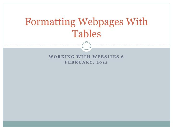 formatting webpages with tables n.