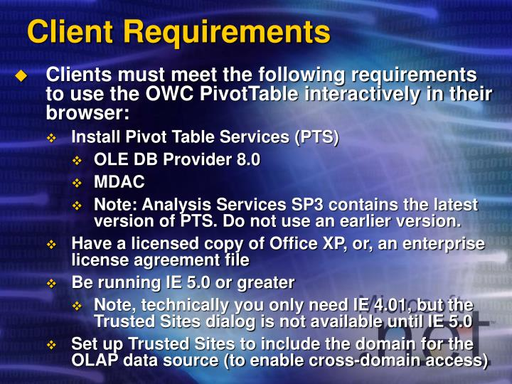 Client Requirements