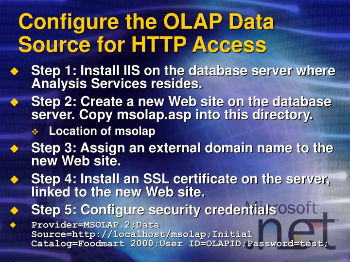 Configure the OLAP Data Source for HTTP Access