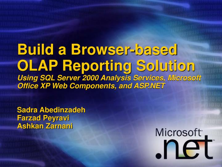 Build a Browser-based OLAP Reporting Solution