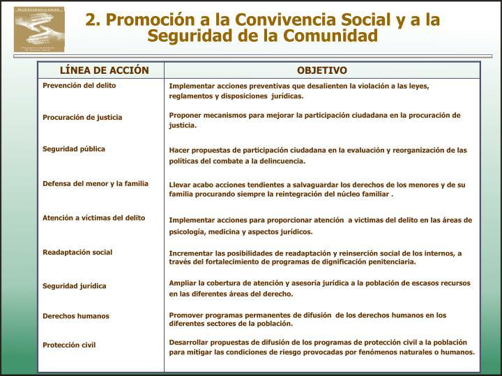 2. Promoción a la Convivencia Social y a la Seguridad de la Comunidad