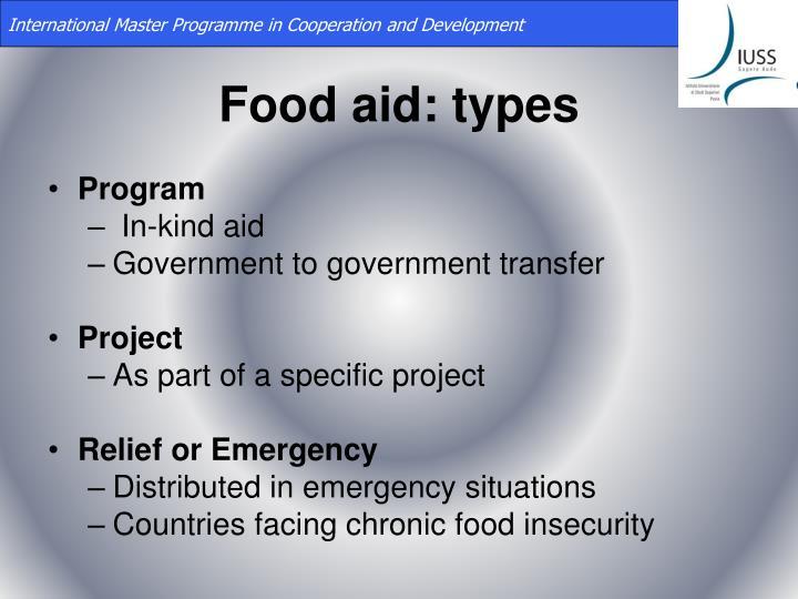 Food aid types