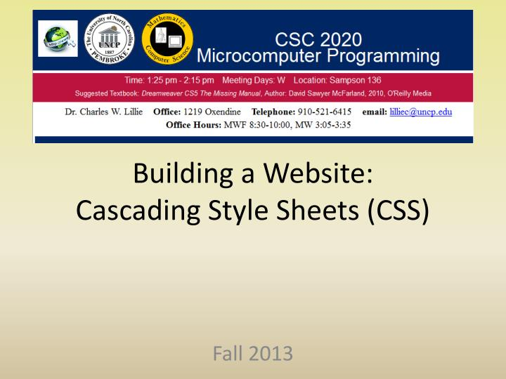 PPT - Building a Website: Cascading Style Sheets (CSS