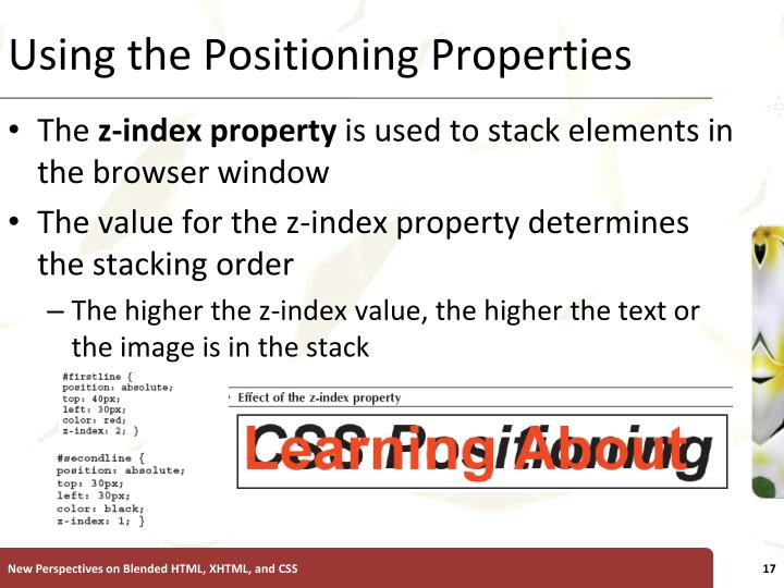 Using the Positioning Properties