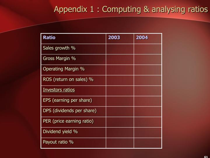 Appendix 1 : Computing & analysing ratios