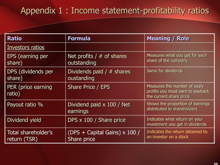 Appendix 1 : Income statement-profitability ratios