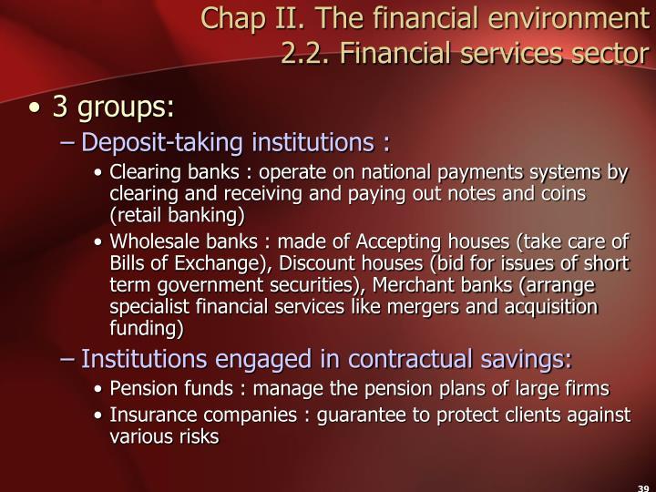 Chap II. The financial environment