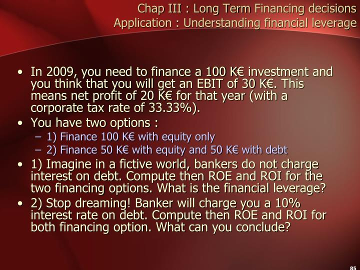Chap III : Long Term