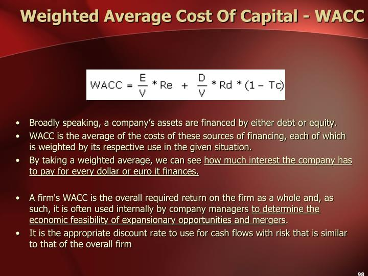 Weighted Average Cost Of Capital - WACC
