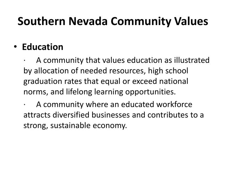 Southern Nevada Community Values