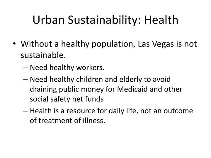 Urban Sustainability: Health