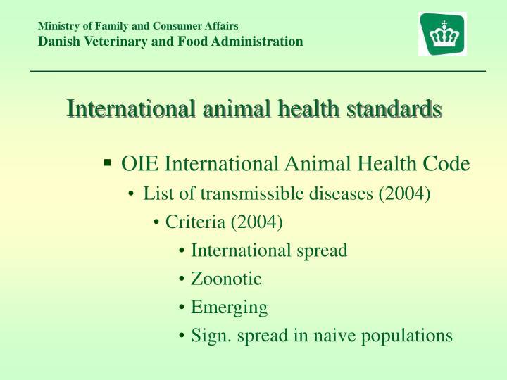 International animal health standards