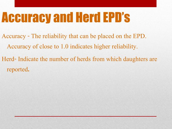 Accuracy and Herd EPD's