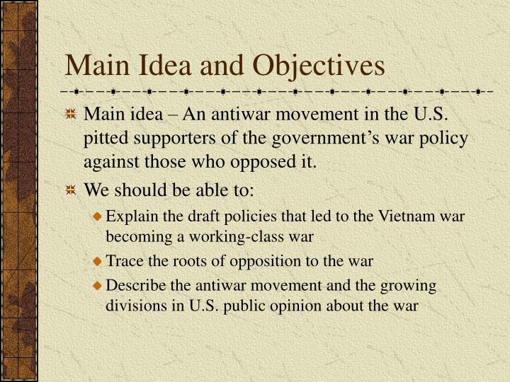 Main idea and objectives