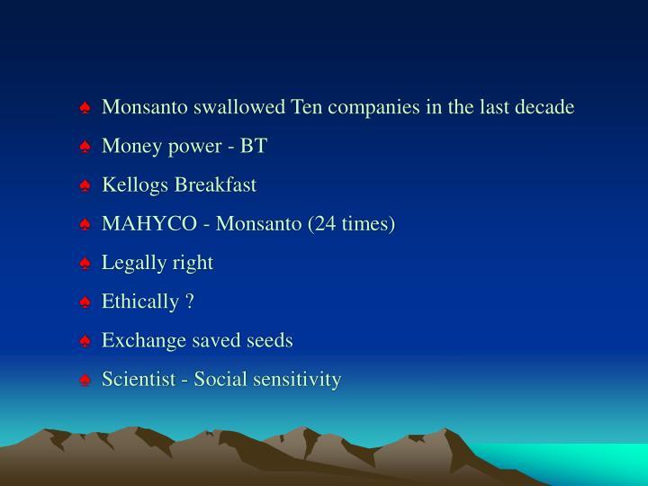 Monsanto swallowed Ten companies in the last decade