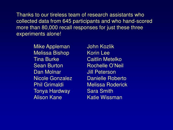 Thanks to our tireless team of research assistants who collected data from 645 participants and who hand-scored  more than 80,000 recall responses for just these three experiments alone!