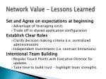 network value lessons learned