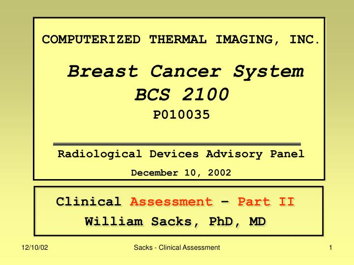 Clinical assessment part ii william sacks phd md
